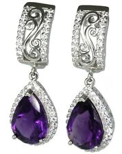 Amethyst Pear Gemstone Dangle Sterling Silver Earrings