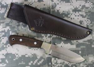 Puma IP 820140 Wolf Eiche Fixed Blade Knife Brown Leather Sheath Oak Wood 2008