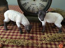 Primitive* Resin* Grazing Sheep* Shelf Sitters* Country Farmhouse* Ornies* set/2