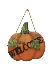 "Wood Pumpkin Door Hanging Fall Thanksgiving Holiday Decoration 10""H"