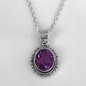 Sterling Silver 925 Amethyst Pendant Oval Gemstone Designer Necklace Jewellery