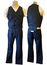 Overall coverall vest denim pant set vtg suit leisure disco one piece bodysuit