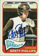 2014 Topps Heritage BRETT PHILLIPS Signed Card auto BREWERS quad cities river ba