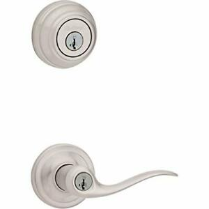 Kwikset Tustin Keyed Entry Lever and Single Cylinder Deadbolt Combo Pack with...
