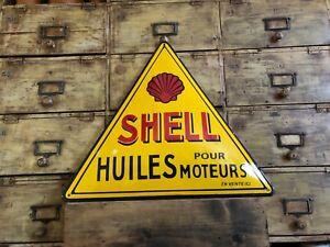 plaque émaillée shell motors oil automobilia enemal sign emailschild