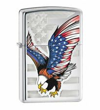 Zippo Eagle Flag Lighter, High Polish Chrome #28449
