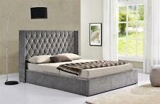 Winged Back Ottoman Fabric Bed Frame Velvet Chenille Double King Size