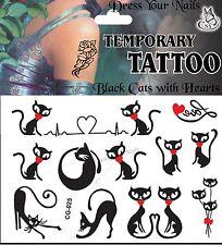 Black Cat Rojo corazón lindo Cartoon Jokey organismo temporal Tattoo Para Niños-cg-025