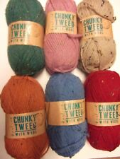5 x 100g Hayfield Chunky Tweed with Wool Wool/Yarn for Knitting/Crochet