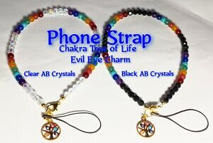 Cell Phone Strap Chakra Gold Tree of Life Evil Eye AB 6mm Clear or Black Crystal