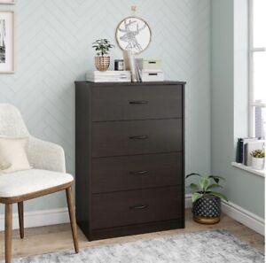 "40"" Tall 4-Drawer Modern Dresser Bedroom Storage Wood Furniture Espresso Finish"