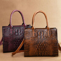 Women's Leather Crocodile Pattern Handbag Satchel Lady Crossbody Shoulder Bag
