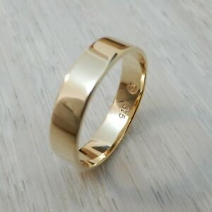 5mm Genuine Solid 9K Yellow Gold Wedding Band Ring Custom Handcrafted - Polished
