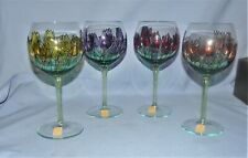 (4) Vintage Wine Glasses By Royal Danube  Romania Hand Painted Outlined Crystal