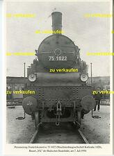 Dampflok 75 1022 1934 MBG Karlsruhe Baujahr 1920 AK (*7849)