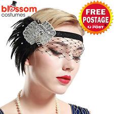 K614 Lace Net Gatsby Headpiece Flapper 1920s Costume Headband Headdress Feather