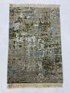 HANDKNOTTED WOOL AND BAMBOO SILK CARPET 2X3 FT FOR LIVING ROOM
