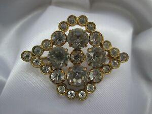 Vintage Gold Tone Sparkling Clear Prong & Bezel Set Glass  Brooch Pin