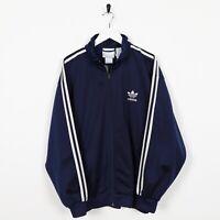 Vintage 80s ADIDAS Small Logo Track Top Jacket Navy Blue | Medium M