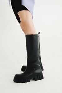Zara Flat Knee High Black Leather Boots With Track Sole Size 5/38