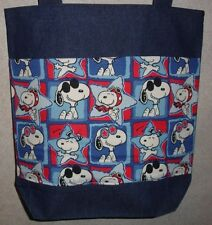 NEW Large Denim Tote Bag Handmade/w Snoopy All Star Squares Fabric