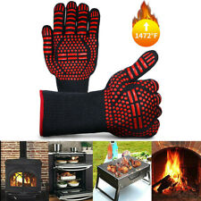 2pc 1472℉ Aramid Extreme Heat Resistant Cooking Oven Mitts Bbq Grilling Gloves
