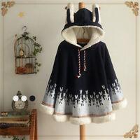 Women Harajuku Lolita Cute Bunny Cloak Hoodie Cute Ear Sweat Girl Cloak Coat