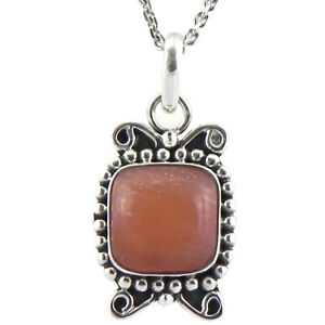 """925 Sterling Silver Carnelian Pendant Necklace with 18"""" Chain Women PWC-1827"""