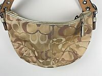 COACH Purse Beige Signature C Jacquard Optic Art Handbag Gold Leather Trim