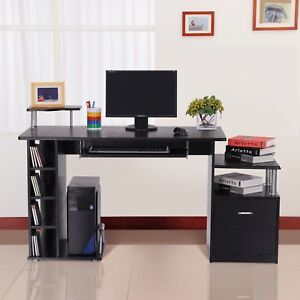 Black Large Office Desk Home Cabinet Laptop Computer Workstation Study Pull Tray