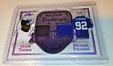Frank Thomas Michael Strahan 2018 Leaf In The Game Used Sports Dual Jersey # 2/9