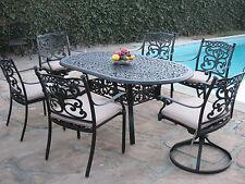 Outdoor Patio Furniture 7 Piece Aluminum Dining Set with 2 Swivel Rockers CBM