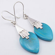 .925 Solid Silver Genuine TURQUOISE Flat Drop STONE New BALLWIRE Earrings 1.8""