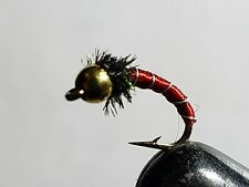 FLY-FISHING-FLIES (*curved-beadhead zebra midge* ) ** 6 FLIES * SIZE 18 *