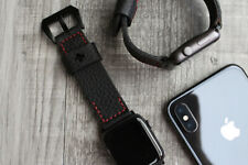 For Apple Watch Series 4 44mm Black Lychee Leather Red Stiching Wrist Strap Band