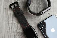 Für Apple Watch Series 4 44mm schwarz Lychee Leder Red Stiching Armband Band