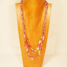 "28"" Classic Vintage Multi Strand Pink Gold Handmade Seed Bead Necklace"