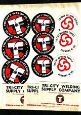 12 REALLY NICE OLDER TRI-CITY WELDING SUPPLY COAL MINING STICKERS # 41