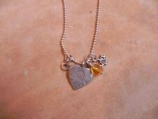 Sterling Silver HEART I LOVE YOU Charms Pendants on Sterling Ball Chain Necklace