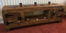 TV stand Chunky Rustic Side Table Wooden Sleeper 120cm cabinet storage coffee