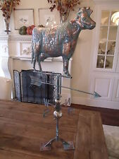 New Large Handcrafted 3D - Dimensional Cow Weathervane Copper Patina Finish !