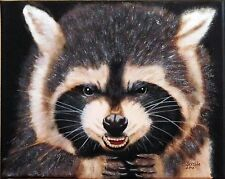 Animal=GROWLING  RACCOON= Originial oil painting by O.Barella