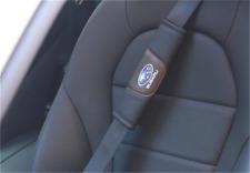 2X Car Seat Belt Shoulder Pads Covers Cushion For Subaru Black Breathe Leather