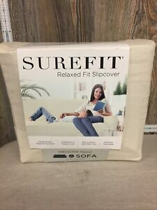Sure Fit Sailcloth Box cushion Loveseat couch Cotton Duck One Piece Slipcover