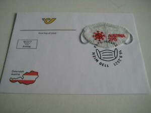 2021 Austria Post First Day Cover on Face Mask Shaped Stamp in fleece fabric