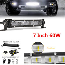 60W 6000LM Single Row LED Light Bar PC Lens Work Light Car Driving Fog Light 7''