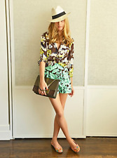 NWT ZARA GREEN HIGH-WAIST PRINTED FLORAL SHORTS SUMMER SIZE S  2635/644 $59