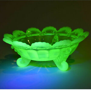 Mosser/ Northwood Klondyke Opalescent Vaseline 3 footed bowl