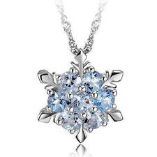 Charm Vintage Lady Blue Crystal Snowflake Frozen Flower Silver Necklace Pendant