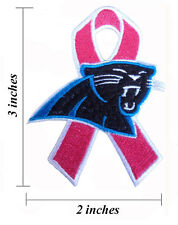Carolina Panthers Breast Cancer Awareness Ribbon Embroidered Iron On Patch.